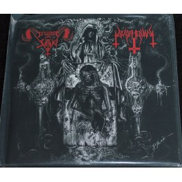 "In League With Satan / Blaspherian (ITA/USA)- Split 7"""